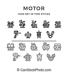 Set icons of motor and engine in two styles isolated on...