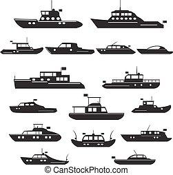 Set  icons of motor yachts.