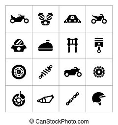 Set icons of motorcycle isolated on white