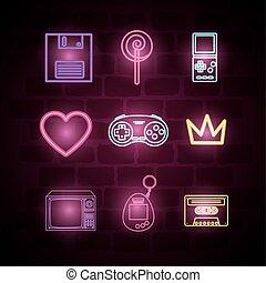 set icons of neon light