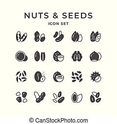 Set icons of nuts and seeds