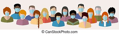 people in medical masks - Set icons of people in masks. ...