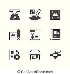Set icons of print