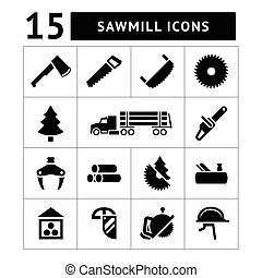 Set icons of sawmill, timber, lumber and woodworking...