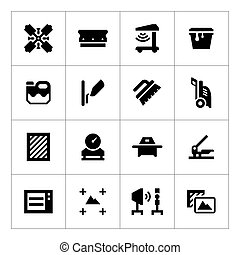 Set icons of screen printing isolated on white
