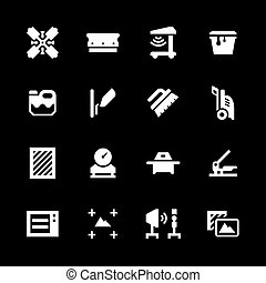 Set icons of screen printing isolated on black