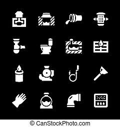 Set icons of sewerage isolated on black