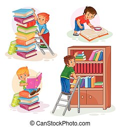 Set icons of small children reading a book