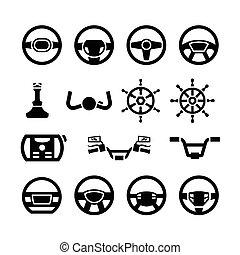 Set icons of steering wheel, marine steering, helm, bicycle and motorcycle handlebar