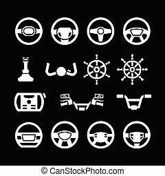 Set icons of steering wheel, marine steering, helm, bicycle and
