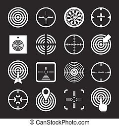 Set icons of target and sights isolated on black