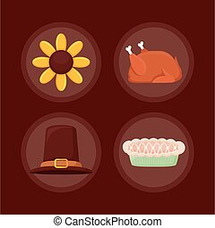 set icons of thanksgiving day happy