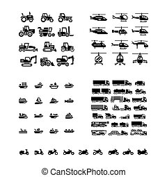Set icons of transport. Tractors, helicopters, water transport,