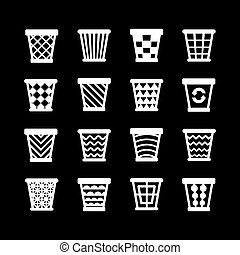 Set icons of trash basket. Garbage can for recycle