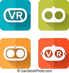 Set icons of virtual reality - Set of web icons or flat...