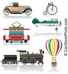 set icons old retro transport