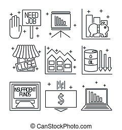 Set icons on a theme of economic crisis