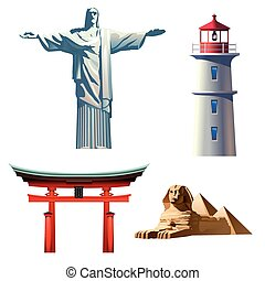 Set icons on the theme of travel - Set of vector icons on...