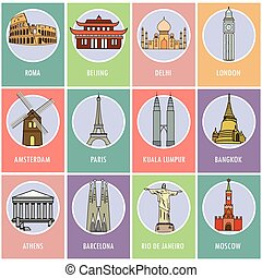 Set icons or cards.- Famous attractions of the world.