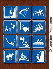 Set icons paragliding, diving, hippodrome, playground,...