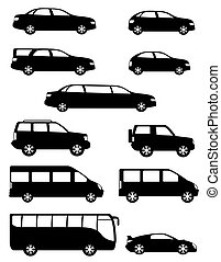 set icons passenger cars silhouette