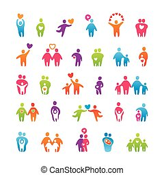 set-icons-people-love-family - Big vector set of icons -...