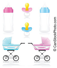 set icons perambulator bottle pacifier pink and blue vector illustration isolated on white background