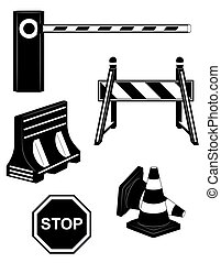 set icons road barrier black silhouette vector illustration ...