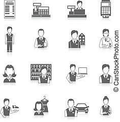 Set icons salesman black