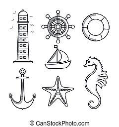 set icons sea isolated