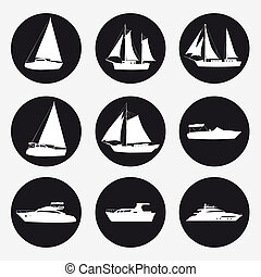 Set icons Ship, pleasure boat, speed boat, cruise ship, luxury yacht on black background for graphic and web design. Simple sign. Internet concept symbol for website button or mobile app