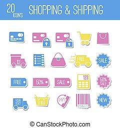 Set icons. Shopping & Shipping