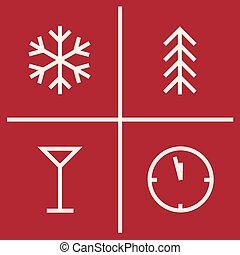set, icons., simboli, anno, nuovo, geometrico, natale