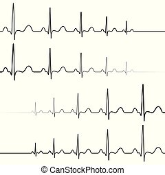 Set icons symbol death resurrection, vector, symbol heartbeat attenuation and resuming of the heart beats