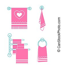 Set icons towel rack