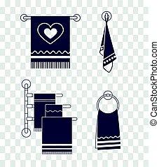 Set icons towel rack  silhouette