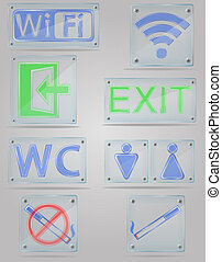 set icons transparent signs for public places on the plate illus