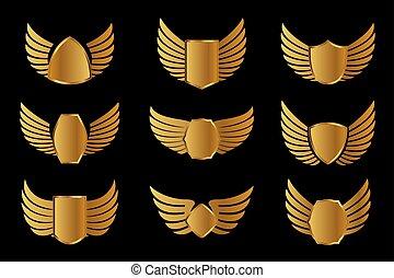 set, icons., widh, contorno, shield., ali, vettore, illustrazione, dorato