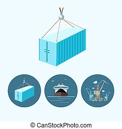 Set icons with   container, dry cargo ship , the crane with containers in dock, vector illustration