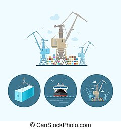 Set icons with container, dry cargo ship , the crane with...