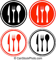 set icons with kitchen utensil