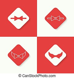 Set icons with vector bow tie.
