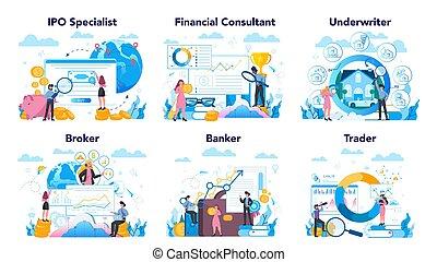 set., idea, finanzas, acción, financiero, profesión, ...