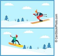 set, illustartion, vettore, snowboarder, sciatore