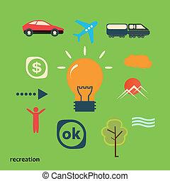 set, illustrare, idea, viaggio, icone