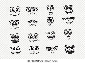 set, illustratie, hand, gezichten, spotprent, tekening