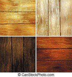 set, illustratie, houten, eps10., vector, 4, textures.