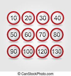 set, -, illustratie, meldingsbord, limiet, snelheid, straat