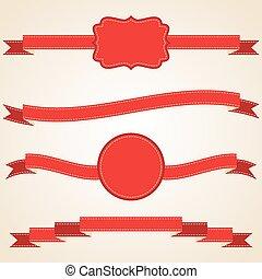 set, illustratie, vector, linten, rood, gekrulde