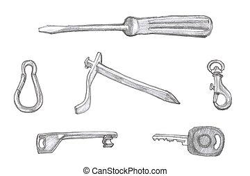 set, -, illustratie, voorwerpen, kleine, handig